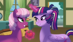 Size: 1024x597 | Tagged: safe, artist:cascayd, cheerilee, twilight sparkle, alicorn, earth pony, pony, alternate hairstyle, apple, cheerilight, female, food, lesbian, levitation, looking at each other, magic, ponytail, shipping, telekinesis, twilight sparkle (alicorn)