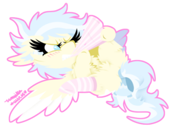 Size: 595x456 | Tagged: artist:vanillaswirl6, blushing, bow, chest fluff, chibi, clothes, featureless crotch, fluffy, mouth hold, oc, oc:dreamscape, oc only, pegasus, plot, safe, simple background, socks, solo, spread wings, striped socks, tail bow, transparent background, wings