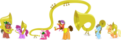 Size: 15668x5112 | Tagged: safe, artist:punzil504, applejack, beauty brass, berry punch, berryshine, cheese sandwich, pinkie pie, absurd resolution, hill song, missing freckles, musical instrument, sousaphone, tuba, tuba mouse, tubajack