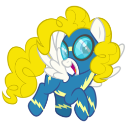 Size: 3000x3000 | Tagged: safe, artist:cheezedoodle96, derpibooru exclusive, surprise, pegasus, pony, g1, .svg available, clothes, female, flying, g1 to g4, generation leap, goggles, looking at you, mare, simple background, solo, svg, transparent background, uniform, vector, wonderbolts, wonderbolts uniform