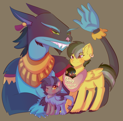 Size: 2925x2881 | Tagged: ahuizotl, artist:karsismf97, daring do, darizotl, female, hybrid, interspecies offspring, male, oc, offspring, parent:ahuizotl, parent:daring do, parents:darizotl, safe, shipping, straight