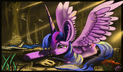 Size: 8640x5040 | Tagged: absurd res, alicorn, artist:auroriia, female, impossibly large ears, mare, pony, prone, safe, smiling, solo, spread wings, stone, twilight sparkle, twilight sparkle (alicorn), wings