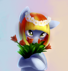 Size: 1786x1885 | Tagged: artist:sokolas, bouquet, bust, cute, earth pony, floral head wreath, flower, gradient background, oc, oc:melon drop, oc only, pony, portrait, safe, smiling, solo