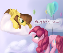 Size: 1200x1000 | Tagged: artist:sokolas, balloon, birthday, cloud, duo, earth pony, eye contact, female, floating, looking at each other, mare, oc, pegasus, pinkie pie, pony, safe, then watch her balloons lift her up to the sky