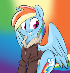 Size: 1280x1319 | Tagged: artist needed, bomber jacket, clothes, jacket, rainbow background, rainbow dash, safe, smiling, solo, source needed, spread wings, wings