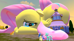 Size: 1920x1080   Tagged: safe, artist:stationmaster2002, bon bon, carrot top, fluttershy, golden harvest, lyra heartstrings, sweetie drops, pony, 3d, boutique, carousel boutique, crying, giant pony, giantess, macro