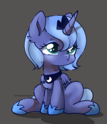 Size: 900x1040 | Tagged: alicorn, artist:snow angel, chest fluff, chibi, crown, cute, female, filly, gray background, jewelry, lunabetes, mare, princess luna, regalia, safe, simple background, sitting, solo, woona, younger