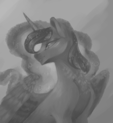 Size: 1100x1200 | Tagged: alicorn, artist:yuyusunshine, female, mare, monochrome, pony, princess luna, safe, sketch, smiling, solo