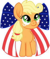 Size: 825x968 | Tagged: american flag, applejack, artist:cloudyglow, bow, cute, earth pony, female, filly, filly applejack, freckles, jackabetes, mare, pony, safe, simple background, transparent background, younger