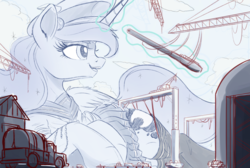 Size: 1500x1010 | Tagged: alicorn, artist:ncmares, clothes, giantess, kantai collection, macro, magic, pony, princess luna, safe, sketch, skirt, socks, solo, telekinesis, thigh highs