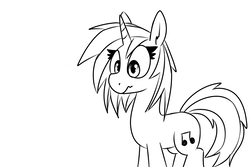 Size: 1500x1000 | Tagged: artist:liserancascade, dj pon-3, grayscale, monochrome, pony, safe, simple background, solo, unicorn, vinyl scratch, white background