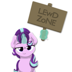 Size: 2236x2236 | Tagged: artist:ljdamz1119, edit, female, glowing horn, lewd, looking at you, magic, mare, pony, reaction image, safe, sign, simple background, solo, solo female, starlight glimmer, telekinesis, transparent background, unicorn