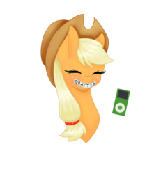 Size: 3000x3400 | Tagged: applejack, artist:kittennugget, bust, friendship is witchcraft, ipod, pony, portrait, safe, simple background, solo, tape, transparent background