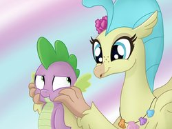 Size: 1033x774   Tagged: safe, artist:justsomepainter11, princess skystar, spike, classical hippogriff, dragon, hippogriff, my little pony: the movie, adorable face, cheek pinch, cheek squish, cute, duo, flower, flower in hair, movie accurate, seashell necklace, show accurate, skyabetes, squishy cheeks, sweet dreams fuel