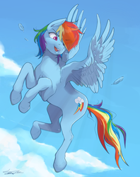 Size: 2353x2969 | Tagged: artist:sydneyitssydneyyo, feather, flying, rainbow dash, safe, signature, solo, spread wings, wings