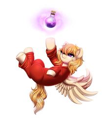 Size: 1899x2151 | Tagged: safe, alternate version, artist:ravensunart, oc, oc only, oc:melody (potion mare), pegasus, pony, fanfic:potion mare, alchemist, bottle, clothes, digital art, fanfic, fanfic art, female, levitation, long mane, magic, mare, potion, purple eyes, reaching, reaching out, robe, simple background, smiling, solo, spread wings, telekinesis, upside down, white background, wings