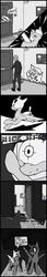 Size: 500x2900 | Tagged: safe, artist:keeponhatin, oc, oc only, oc:bd, oc:blitz, oc:drone r-935, original species, pony, predator drone, comic, halloween, holiday, monochrome, plane, plane ponies