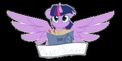 Size: 1599x807 | Tagged: safe, artist:eivilpotter, twilight sparkle, alicorn, pony, book, female, mare, old banner, solo, twilight sparkle (alicorn)
