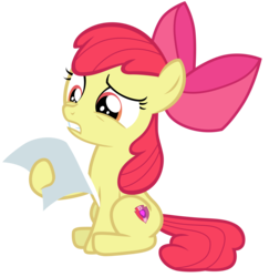 Size: 7000x7200 | Tagged: safe, artist:tardifice, apple bloom, earth pony, pony, forever filly, absurd resolution, bow, confused, cutie mark, female, filly, frown, gritted teeth, hair bow, hoof hold, paper, simple background, sitting, solo, the cmc's cutie marks, transparent background, vector, wince