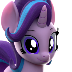 Size: 1000x1000 | Tagged: safe, artist:galawaille, starlight glimmer, pony, unicorn, 3d, blender, bust, cute, female, glimmerbetes, looking at you, mare, portrait, smiling, solo