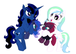 Size: 4823x3445 | Tagged: 2018 community collab, artist:darkest-lunar-flower, broken horn, derpibooru community collaboration, moon flower, my little pony: the movie, oc, oc:avant-garde flower, oc:darkest lunar flower, pegasus, pew pew, plushie, pony, princess luna, safe, simple background, tempest shadow, transparent background
