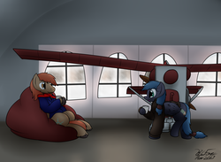 Size: 2740x2009 | Tagged: artist:the-furry-railfan, beanbag chair, blizzard, clothes, cold, flying machine, hangar, indoors, jacket, mailpony, mug, oc, oc:night strike, oc only, oc:winterlight, pegasus, plane, royal mail, safe, scarf, snow, snowfall