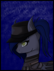 Size: 1434x1884 | Tagged: artist:syntiset, bat pony, bat pony oc, cap, enclave, eyepatch, fallout equestria, female, glowing eyes, hat, mare, oc, oc only, safe, scar, solo