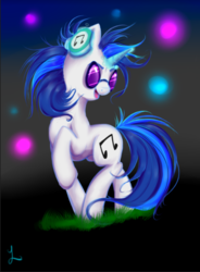 Size: 500x679 | Tagged: artist:thefluffyvixen, dj pon-3, female, mare, pony, safe, smiling, solo, sunglasses, unicorn, vinyl scratch