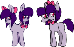 Size: 786x498 | Tagged: artist:woollily, bow, bowtie, conjoined, conjoined twins, female, mare, multiple heads, oc, safe, simple background, solo, two heads, unnamed oc, white background
