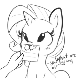 Size: 1650x1650 | Tagged: safe, artist:tjpones, rarity, human, pony, unicorn, :3, cute, dialogue, fangs, monochrome, offscreen character, rarara, raribetes, raricat, whiskers