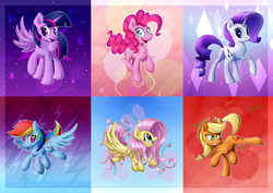Size: 4630x3274 | Tagged: alicorn, applejack, artist:sentireaeris, bucking, compilation, female, fluttershy, mane six, mare, pinkie pie, pony, rainbow dash, rarity, safe, smiling, too big for derpibooru, twilight sparkle, twilight sparkle (alicorn)