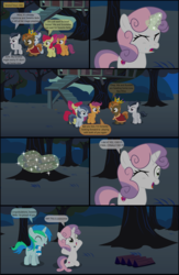 Size: 4551x7001 | Tagged: absurd res, alicorn, apple bloom, artist:cyanlightning, buttoncorn, button mash, colt, comic, comic:cyan's adventure, cutie mark crusaders, eyes closed, female, filly, king button mash, magic, male, night, oc, oc:cyan lightning, one eye closed, open mouth, pony, rumble, safe, scootaloo, shady daze, .svg available, sweat, sweetie belle, vector