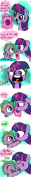 Size: 500x2814 | Tagged: safe, artist:emositecc, spike, twilight sparkle, dragon, pony, unicorn, baby, baby spike, blushing, comic, cute, daaaaaaaaaaaw, dialogue, duo, eyes closed, female, filly, filly twilight sparkle, glowing horn, looking at each other, looking at you, magic, mama twilight, open mouth, pie chart, speech bubble, spikabetes, sweet dreams fuel, telekinesis, twiabetes, weapons-grade cute, wilight parkle, younger