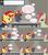 Size: 1284x1444   Tagged: safe, artist:hakunohamikage, sunset shimmer, oc, oc:garnet, pony, unicorn, ask-princesssparkle, angry, armor, ask, female, helmet, mare, table, tumblr