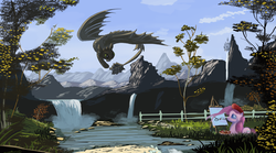 Size: 9360x5187 | Tagged: safe, artist:auroriia, pinkie pie, dragon, earth pony, night fury, pony, absurd resolution, chasing own tail, crossover, female, how to train your dragon, mare, nature, scenery, toothless the dragon