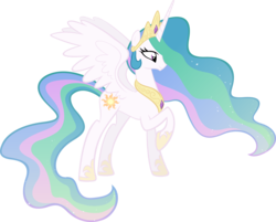 Size: 4051x3264 | Tagged: safe, artist:breadking, princess celestia, alicorn, pony, ethereal mane, female, high res, mare, raised hoof, simple background, solo, spread wings, transparent background, vector, wings