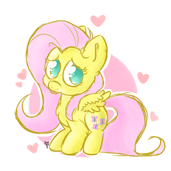 Size: 4000x4000 | Tagged: artist:lilyoliveira, chibi, floating heart, fluttershy, heart, looking at you, no pupils, pegasus, pony, safe, solo, spread wings, standing, tongue out, wings