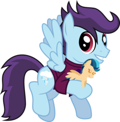 Size: 1117x1140 | Tagged: safe, artist:lightningbolt, derpibooru exclusive, indigo zap, oc, oc only, oc:microburst, pegasus, pony, 2018 community collab, derpibooru community collaboration, .svg available, clothes, equestria girls ponified, flying, grin, holding, looking at you, male, plushie, pointy ponies, ponified, shirt, simple background, smiling, solo, spread wings, stallion, svg, t-shirt, transparent background, vector, wings