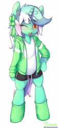 Size: 1353x3005 | Tagged: safe, artist:hoodie, lyra heartstrings, pony, semi-anthro, unicorn, bipedal, blushing, clothes, ear fluff, explicit source, female, hoodie, one eye closed, open mouth, ribbon, shirt, shorts, simple background, smiling, socks, solo, white background, wink