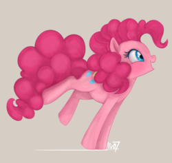 Size: 970x919 | Tagged: artist:mn27, bipedal, cute, diapinkes, earth pony, female, happy, looking at something, looking away, mare, on front legs, open mouth, pinkie pie, pony, profile, safe, simple background, smiling, solo, source needed