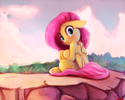 Size: 2500x2000 | Tagged: safe, artist:miokomata, fluttershy, pegasus, pony, cute, cute little fangs, fangs, female, floppy ears, folded wings, looking at you, looking back, looking back at you, mare, shyabetes, sitting, solo, wings