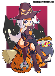 Size: 2280x3120 | Tagged: safe, artist:rvceric, derpy hooves, pinkie pie, sunset shimmer, trixie, human, adorasexy, boots, breasts, broom, candy, clothes, crossed legs, cute, diatrixes, female, flying, flying broomstick, food, halloween, hat, high heel boots, holiday, humanized, jack-o-lantern, kneesocks, leotard, looking at you, pumpkin, sexy, shoes, sitting, smiling, socks, solo, witch, witch hat