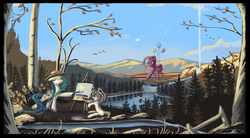 Size: 1202x664 | Tagged: safe, artist:auroriia, pinkie pie, princess celestia, alicorn, earth pony, pony, balloon, easel, floating, hat, nature, paintbrush, painting, palette, plein air, river, scenery, smiling, then watch her balloons lift her up to the sky
