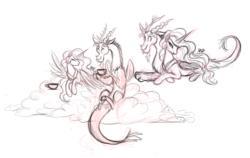 Size: 1856x1173   Tagged: safe, artist:mn27, discord, princess celestia, alicorn, draconequus, pony, cloud, dislestia, drink, female, male, shipping, sketch, straight