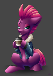 Size: 2894x4093 | Tagged: safe, artist:faline-art, fizzlepop berrytwist, tempest shadow, pony, my little pony: the movie, belly button, bottomless, broken horn, clothes, coffee, cute, eye scar, female, floppy ears, gray background, hoof hold, jacket, lidded eyes, mare, partial nudity, scar, simple background, sitting, smiling, solo, tempestbetes