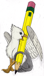 Size: 585x1000 | Tagged: safe, artist:clawdore, artist:tinibirb, color edit, edit, oc, oc only, oc:der, griffon, colored, micro, pencil, sitting, solo, traditional art
