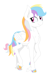 Size: 3171x4576 | Tagged: safe, artist:paskanaakka, derpibooru exclusive, oc, oc only, oc:harmony strike, pegasus, pony, 2018 community collab, derpibooru community collaboration, chest fluff, colored hooves, ear fluff, female, mare, simple background, smiling, solo, transparent background, unshorn fetlocks