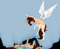 Size: 4200x3405 | Tagged: safe, artist:sweetmelon556, oc, oc only, oc:christa, oc:fianna, pegasus, pony, unicorn, female, halo, high res, mare, wings