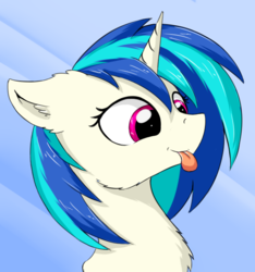 Size: 589x630 | Tagged: safe, artist:wolfypon, dj pon-3, vinyl scratch, pony, unicorn, :p, abstract background, bust, cheek fluff, chest fluff, ear fluff, female, fluffy, mare, missing accessory, no glasses, silly, smiling, solo, tongue out