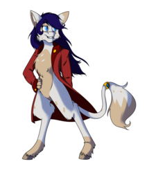 Size: 822x971 | Tagged: safe, artist:absolutecactus, oc, oc only, oc:oddity, anthro, hybrid, unguligrade anthro, my little pony: the movie, bipedal, cheek fluff, chest fluff, female, fluffy, grin, interspecies offspring, leg fluff, lidded eyes, next generation, offspring, parent:capper dapperpaws, parent:rarity, parents:capperity, simple background, smiling, smirk, solo, straight, tail jewelry, tail ring, transparent background, unshorn fetlocks